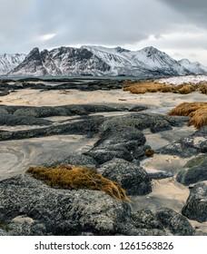 Winter view to fjord - Lofoten islands, Norway