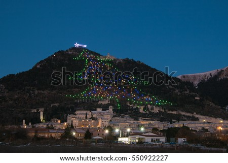 winter view of gubbio with the biggest christmas tree of the world - Biggest Christmas Tree In The World