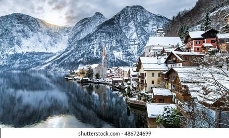 Winter View Of Hallstatt , Hallstatt , Austria