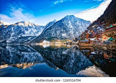 Winter View of Hallstatt, traditional austrian wood village, UNESCO world culture heritage site. Alps, Austria.