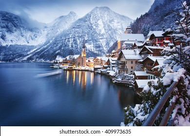 Winter View of Hallstatt, traditional austrian wood village, UNESCO world culture heritage site. Alps, Austria.
