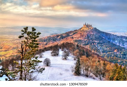Winter view of Hohenzollern Castle in Baden-Wurttemberg, Germany