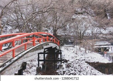 A winter view of the Kajika Bridge at Ikaho Onsen (Ikaho Hot Springs), Shibukawa, Gunma, JAPAN.