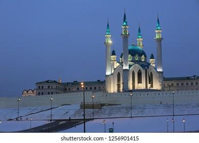 Winter view of the Kazan Kremlin and Kul Sharif Mosque in Kazan in the evening light. Russia