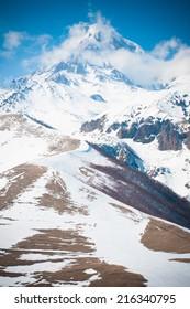 A winter view of Kazbek mountain in Caucasus, Georgia