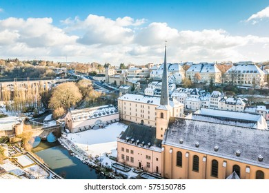Winter view of Luxembourg city