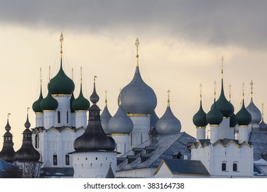 Winter view of medieval the Kremlin in Rostov the Great as part of The Golden Ring's group of medieval towns of the northeast of Moscow, Russia. Included in World Heritage list of UNESCO.