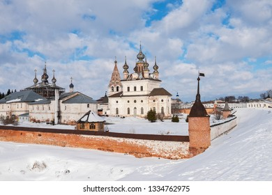 Winter view of the Michael Archangel Cathedral and other buildings of the monastery from ramparts in Yuryev-Polsky, Russia