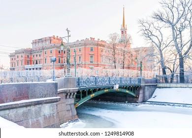 winter view of the Mikhailovsky Castle with St. Petersburg.