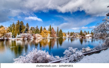 Winter View of Mirror Pond on Deschutes River from Drake Park in Bend, Oregon