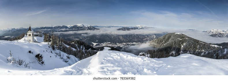 A winter view of Monte Lussari, Friuli venezia Giulia, Italy