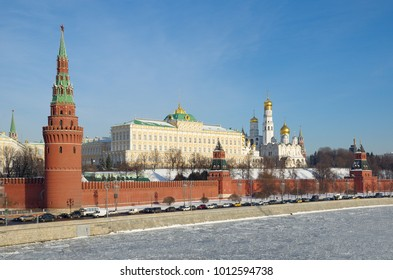 Winter view of the Moscow Kremlin and the Kremlin embankment in Moscow, Russia