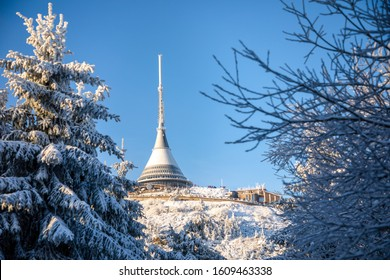 Winter view of mountain top hotel and television transmitter Jested, Liberec, Czech Republic - Shutterstock ID 1609463338