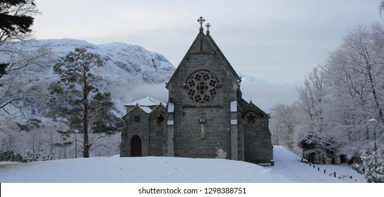Winter view of an old Church at Glenfinnan at the head of Loch Shiel in Lochaber.