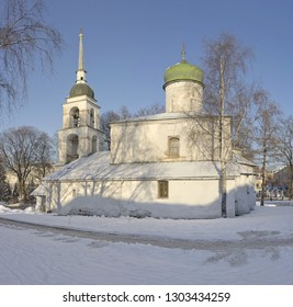 Winter view of old Orthodox church in Pskov, Russia