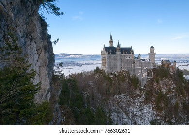 Winter view on Neuschwanstein castle in early morning. Bavaria, Germany.
