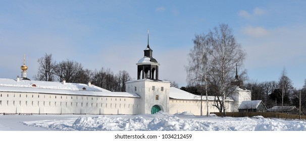 Winter view on the wall and towers of the Tolgsky monastery in the environs of Yaroslavl