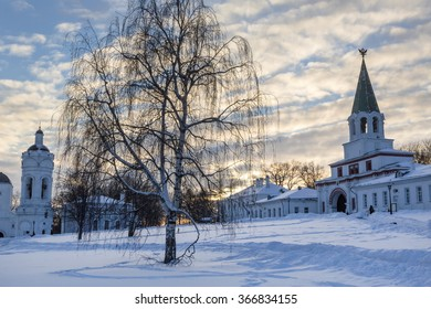 Winter view of orthodox bell-tower and main gate in Kolomenskoe estate in Moscow, Russia