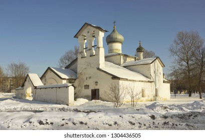 Winter view of Orthodox church in Pskov, Russia. The church is a place of worship