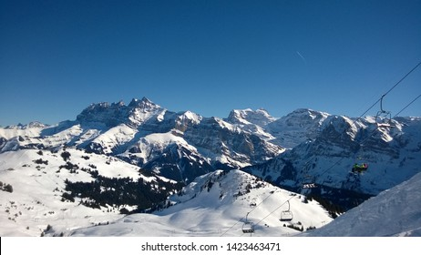 Winter view over Dent-du-Midi and Swiss Alps from Portes-du-Soleil slopes, Champéry, Switzerland.