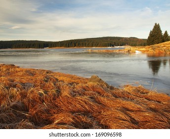 Winter view over frozen water level of lake, few boulders sticking out from the ice. Dry old stalks of grass and reeds on the bank, dark blue and green needles tree, naked leaves tree.  - Shutterstock ID 169096598