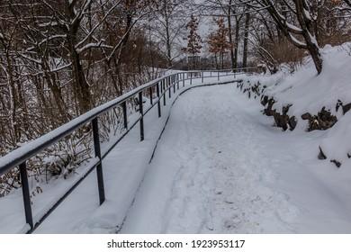Winter view of a path in Letna gardens in Prague, Czech Republic - Shutterstock ID 1923953117