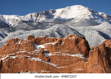 A winter view of Pike's Peak from the Garden of the Gods near Colorado Springs, Colorado