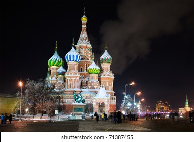 Winter view of Saint Basil's Cathedral at night, Red Square, Moscow, Russia