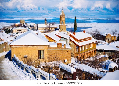 The winter view of Sighnaghi (Signagi) old town at winter in Kakheti region, Georgia