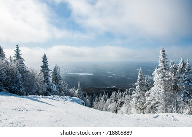 Winter view from ski slope on top of mountain - Mont-Tremblant, Quebec, Canada