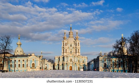 Winter view of Smolny Convent with the Smolny Cathedral, Saint Petersburg, Russia