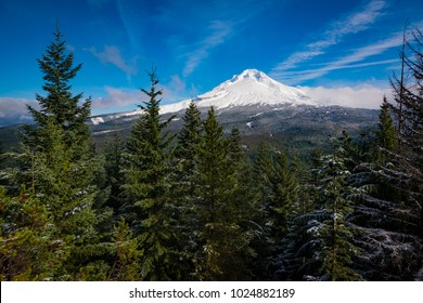 Winter view of snow-covered Mt. Hood in Oregon