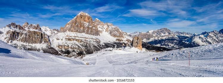 winter view of the snowy Dolomites groups of Cinque Torri and Tofane, near Cortina d'Ampezzo