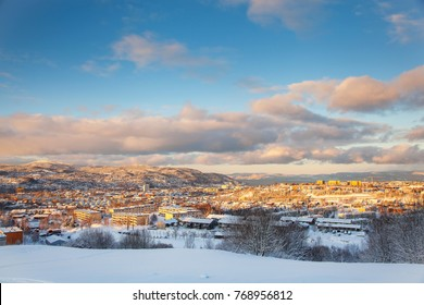 Winter view of snowy Trondheim city Norway from Steinan