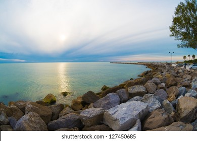 Winter view of South Jetty in Venice, Florida.