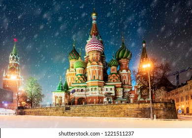 winter view of the St. Basil's Cathedral