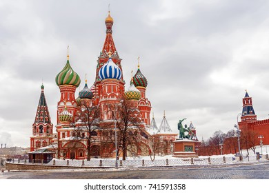 winter view of St. Basil's Cathedral in Moscow