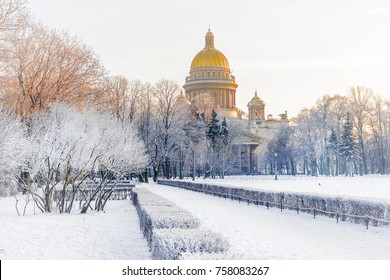 winter view of St. Isaac's Cathedral in St. Petersburg. Russia