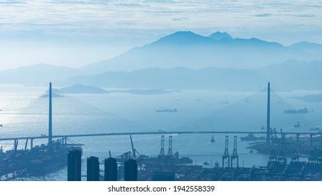 The winter view of Stonecutters' Bridge and Lantau Island.