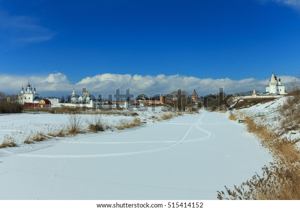 Winter view of the Suzdal monasteries and Kamenka River