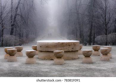 Winter view of Table of Silence - Constantin Brancusi's masterpieces found in Targu-jiu, Romania