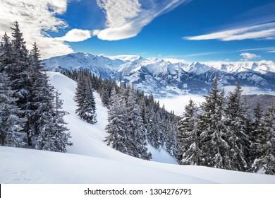 Winter view from the top of Ausrtian Alps in Kaprun ski resort, National Park Hohe Tauern, Europe, Austria