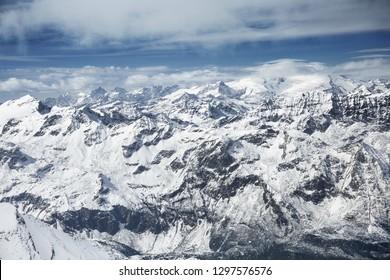 Winter view from the top of Kitzsteinhorn mountain, Kaprun ski resort, National Park Hohe Tauern, Austrian Alps, Europe.