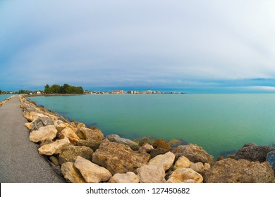Winter view of Venice on the Gulf of Mexico, as seen from the end of the South Jetty in Venice, Florida.