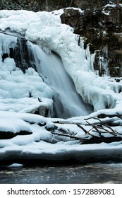 Winter view of the waterfall in Montana
