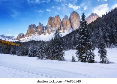 Winter views of the Geisler or Odle Dolomites mountain peaks in the Val di Funes (Villnosstal) in Italy. The surroundings of the village Santa Maddalena.