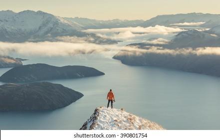 Winter views of Lake Wanaka from Roy's Peak