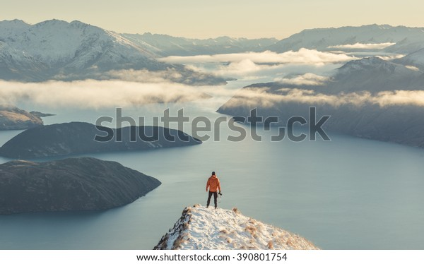 Winter views of Lake Wanaka from Roy's Peak