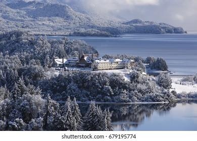 Winter views of the tour circuit in San Carlos de Bariloche, Patagonia, Argentina.