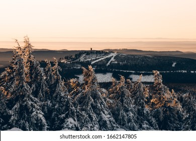 Winter views of the wurmberg mountain in the Harz national Park